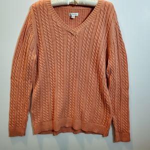 Pretty peach cable knit sweater